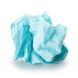 Paper napkin. Crumpled blue paper napkin on a white background Stock Image