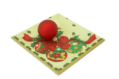 Paper napkin. Christmas-tree decorations on  paper napkin Royalty Free Stock Images