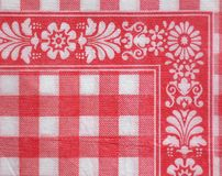 Paper napkin detail. Detailed texture of a red and white paper napkin Royalty Free Stock Image