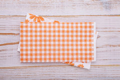 Paper napkin on old wooden table. place for text Royalty Free Stock Photos
