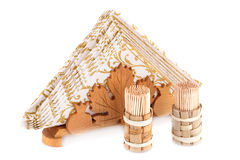 Paper napkins in holder and toothpicks Royalty Free Stock Photography