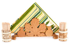 Paper napkins in holder and toothpicks Stock Image