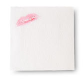 Paper Napkins With Lipstick Stock Photo