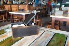 Flatware, cutlery, silverware in wooden box stock photography