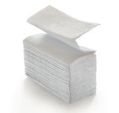 Paper napkins and towels. In closeup on white Royalty Free Stock Image