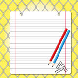 Paper on net. Paper sheet with pencil on  net background Stock Photo