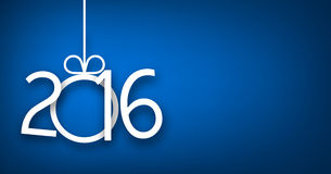 Paper 2016 new year ball. Single paper christmas ball with 2016 new year. Vector blue banner Stock Photo