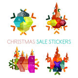 Paper New Year and Christmas labels, stickers Royalty Free Stock Photography