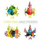 Paper New Year and Christmas labels, stickers. Paper New Year and Christmas labels and stickers. Modern info banner vector illustration