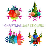 Paper New Year and Christmas labels, stickers. Paper New Year and Christmas labels and stickers. Modern info banner Royalty Free Stock Photography