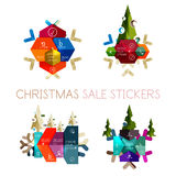 Paper New Year and Christmas labels, stickers. Paper New Year and Christmas labels and stickers. Modern info banner Royalty Free Stock Photos