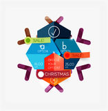 Paper New Year and Christmas labels, stickers. Paper New Year and Christmas labels and stickers. Modern info banner Royalty Free Stock Photo