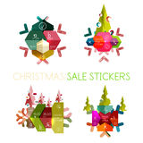 Paper New Year and Christmas labels, stickers. Paper New Year and Christmas labels and stickers. Modern info banner Stock Photo