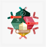 Paper New Year and Christmas labels, stickers. Paper New Year and Christmas labels and stickers. Modern info banner Royalty Free Stock Image