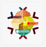 Paper New Year and Christmas labels, stickers Royalty Free Stock Images