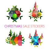Paper New Year and Christmas labels, stickers. Paper New Year and Christmas labels and stickers. Modern info banner royalty free illustration