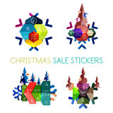 Paper New Year and Christmas labels, stickers. Paper New Year and Christmas labels and stickers. Modern info banner stock illustration
