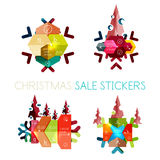 Paper New Year and Christmas labels, stickers Royalty Free Stock Image