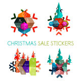 Paper New Year and Christmas labels, stickers. Paper New Year and Christmas labels and stickers. Modern info banner Stock Image