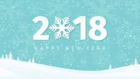 Paper 2018 New Year numbers on the minimal winter landscape background with snowflake silhouettes, trees and falling snow. Vector Illustration vector illustration
