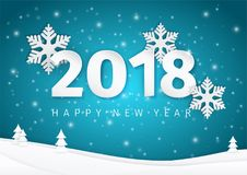 Paper New Year 2018 text design with 3d snowflakes on the shining deep blue landscape background with Christmas trees. Vector Illustration Royalty Free Stock Image