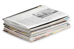 Pile of newspapers on white background. Paper newspaper news pile pile of newspapers print media paper stack Stock Images