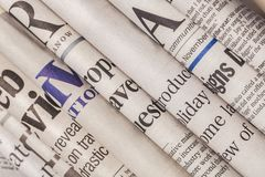 Pile of newspapers on white background. Paper newspaper news pile pile of newspapers print media paper stack Royalty Free Stock Images