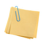 Paper note with blue clinch. Paper note with green clinch. It is attached red pin on a white background Royalty Free Stock Image