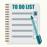Paper note book with to do list in cartoon style Stock Images