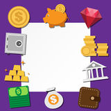 Paper note and business icons set . Stock Photography