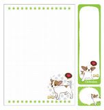 Paper note chihuahua. Cartoon on green and white background Stock Images