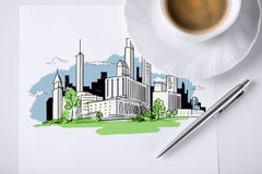 Paper for note with city sketch and coffee Royalty Free Stock Images
