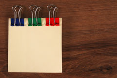 The Paper Note Color on the Wood Royalty Free Stock Images