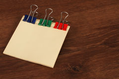 The Paper Note Color on the Wood Royalty Free Stock Photo