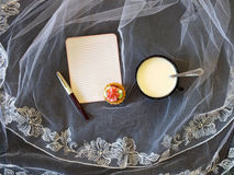Paper note and cup of milk. Paper note  and cup of milk on tablecloth Royalty Free Stock Images