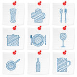 Paper note and drawing kitchenware symbol Stock Photography