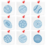 Paper note and drawing sport ball Royalty Free Stock Image