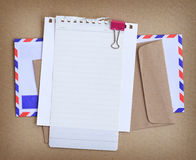 Paper note with envelop. Background Royalty Free Stock Photo