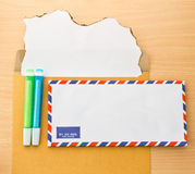 Paper note in envelope Royalty Free Stock Photo