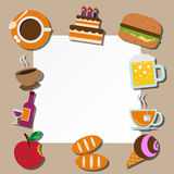 Paper note and food icons set . Royalty Free Stock Photo