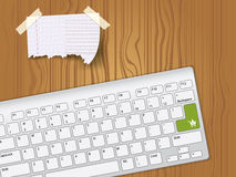 Paper note and keyboard Royalty Free Stock Photos