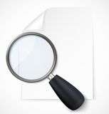 Paper note with magnifying glass icon Royalty Free Stock Photos