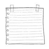 Paper note and Masking Tape cute line art Royalty Free Stock Photos