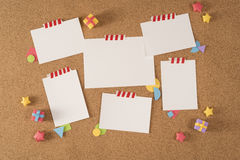 Paper note office board cork notice template portfolio Stock Image