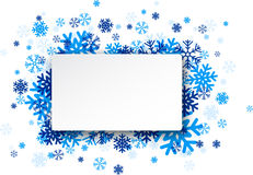 Paper note over snowflakes Stock Images