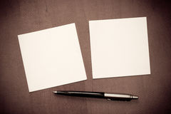 Paper note with pen Stock Photography
