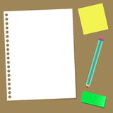 Paper note pencil rubber Royalty Free Stock Image