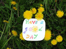 Paper note with phrase: Have a good day. Positive attitude concept. Paper note with phrase: Have a good day Royalty Free Stock Images