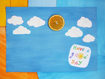 Paper note with phrase: Have a good day. Positive attitude concept Royalty Free Stock Photos