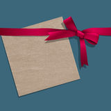 Paper note with pink ribbon Royalty Free Stock Photo
